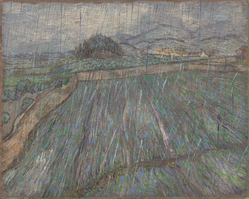 "Vincent van Gogh:   Rain  , oil on canvas, 28 7/8 x 36 3/8"", 1889, Philadelphia Museum of Art"
