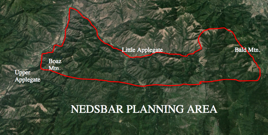 The Nedsbar Planning Area includes roughly half the BLM land in the Little Applegate watershed and portions of the Upper Applegate watershed. As outlined, the Nedsbar Timber Sale was embedded within the Nedsbar Planning Area.
