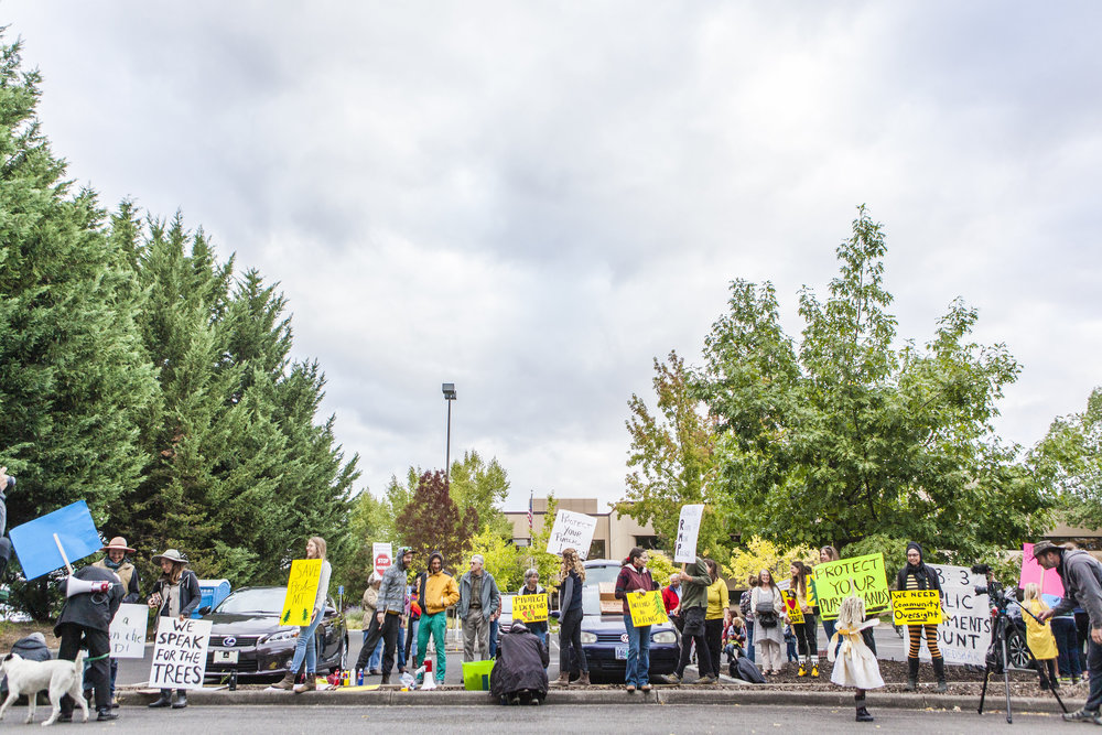 Local residents protest the Nedsbar Timber Sale auction on September 22, 2016. Photo credit: www.timdawphotography.com