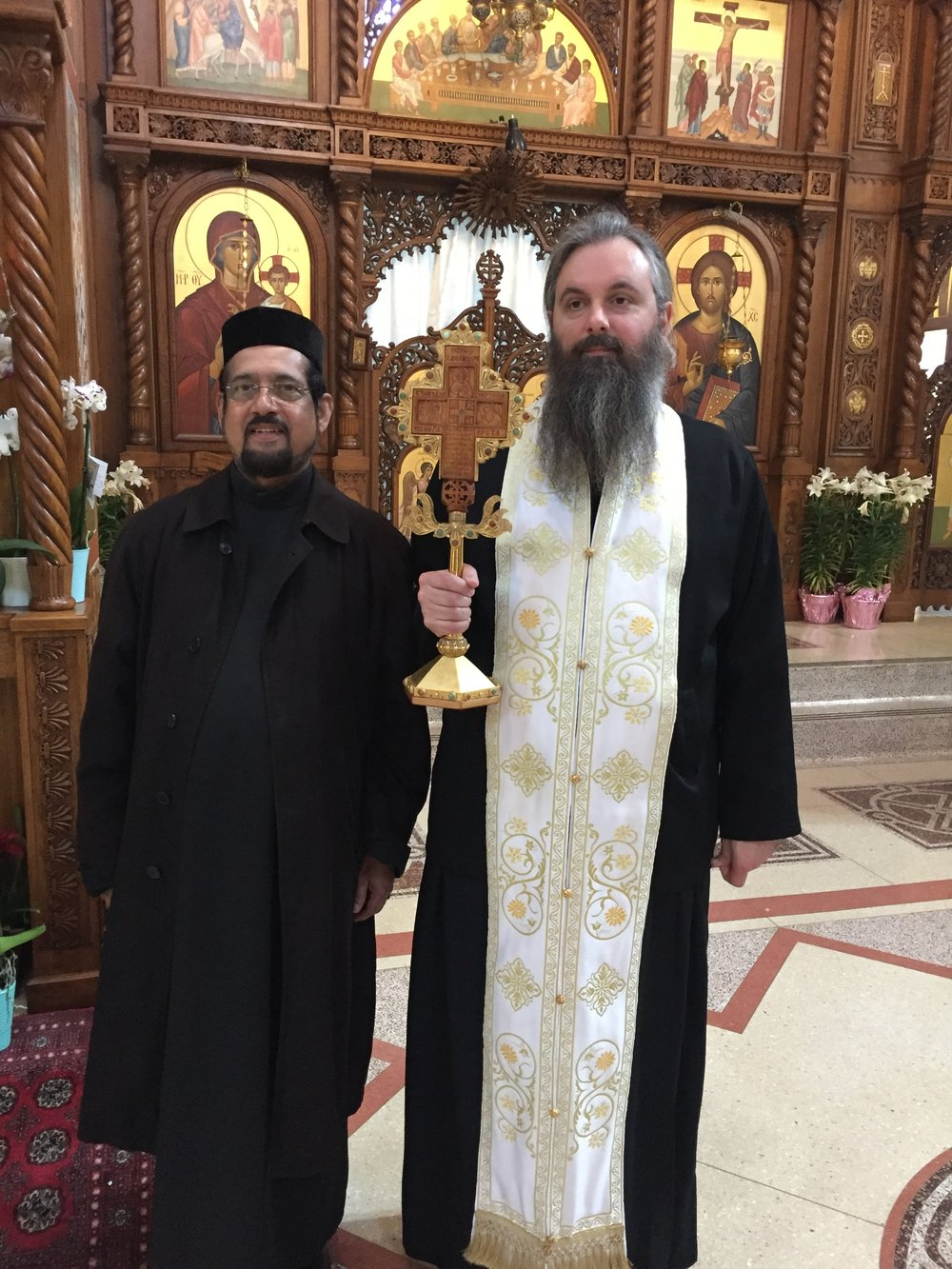 Hieromonk Serafim Baltic with Rev Fr Daniel George - field trip to New Gracanica Monastery on May 6th, 2017