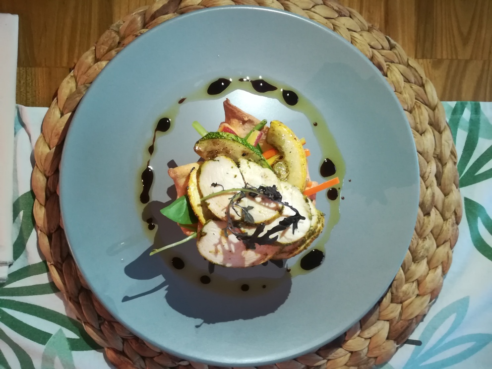Antonio Crisci - Chef.Poached chicken salad with chargrilled vegetables.