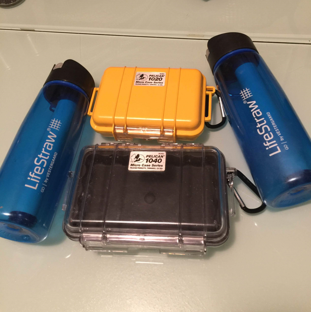 Our stash of Pelican cases and Lifestraws.