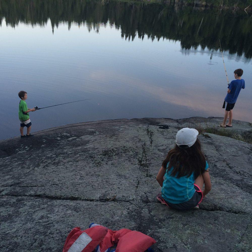 The kids fishing at our campsite on Kiskadinna Lake.