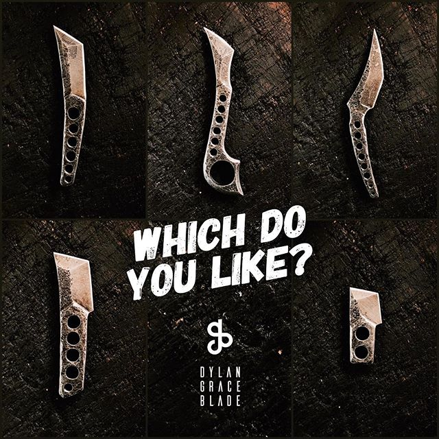 "Which do you like most? Sometimes I like to challenge myself to come up with new designs with spare steel. This week was one of those times. I think it helps keep me growing in creativity. Each is unique and honestly I like them all. They're all made from super thick 3/8"" bar stock that's been tapered down for the blade."