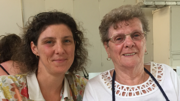 Artist Mirabelle Wouters with Hendrika Penning, 84 years old, the longest-serving volunteer cook at the Community Kitchen and Hub, Liverpool