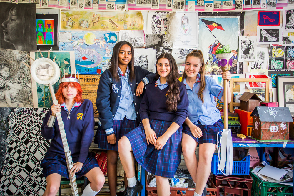 Malgorzata Miziniak, Eva Awad, Zahra Noori and Natasa Draca at Liverpool Girls High School, Photo: Anna Kučera