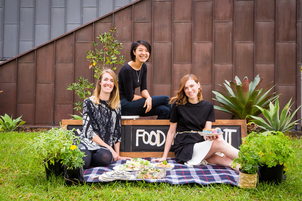 Left to right: Youth Food Movement's Founding Director Joanna Baker, Communications Manager Zo Zhou and Founding Director Alexandra Iljadica, image courtesy and © Museum of Contemporary Art Australia 2016, photograph: Anna Kučera