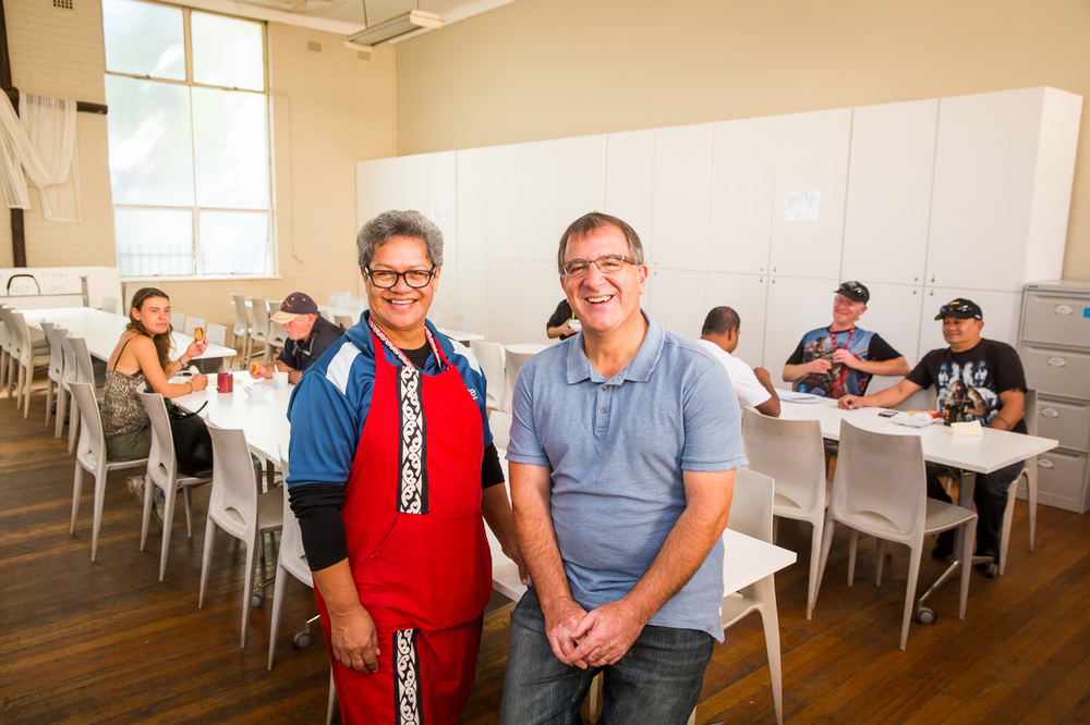 Donna Pomare and Pastor Mick Agius, Inspire Communities, at Liverpool Community Kitchen