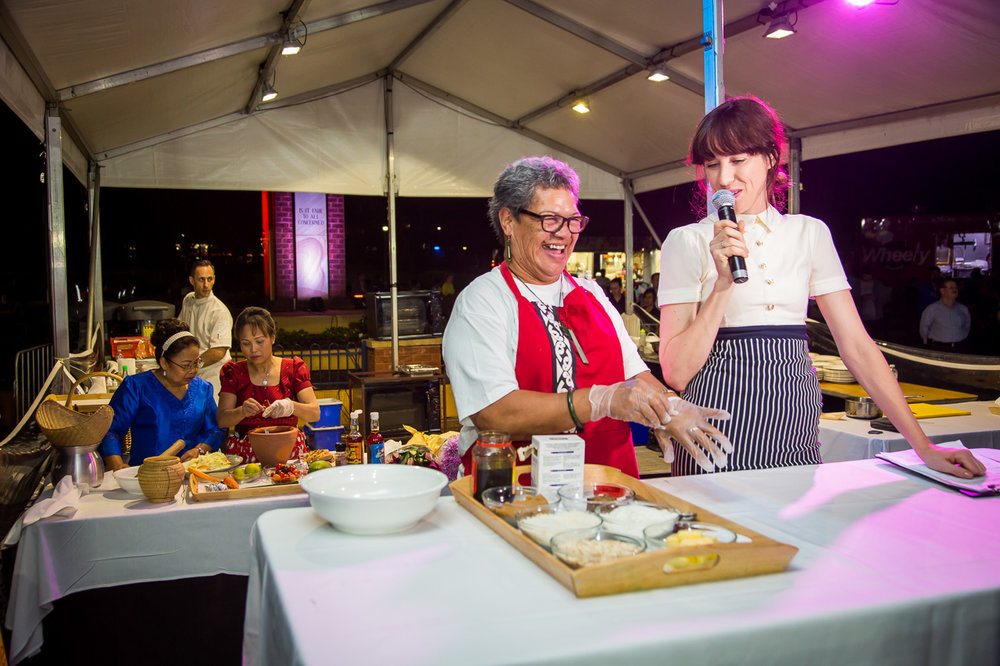 Food Hero Donna Pomare demonstrates making Anzac Slice with Mish Grigor at Food Fight: The Battle for Food Security, 30 April 2016, Liverpool. Photo: Jacquie Manning.