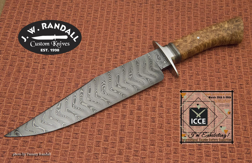 """Chevron Fighter - 8 7/8"""" blade, stainless guard, wrought iron spacer with black ash burl handle"""