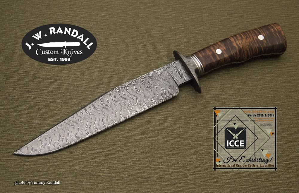 """Texas Wind fighter - 7 7/8"""" blade, damascus guard, grooved stainless spacer, file worked false frame with koa handle"""