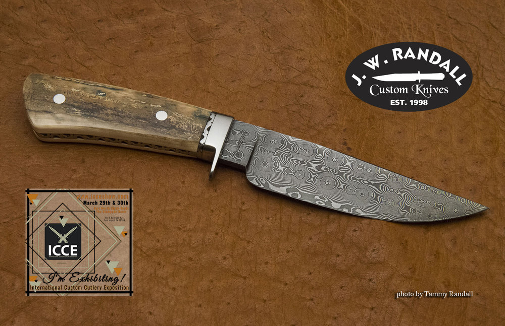 """Raindrop Hunter - 5 3/4"""" blade, stainless guard, file worked spacer and false frame with mammoth ivory handle"""