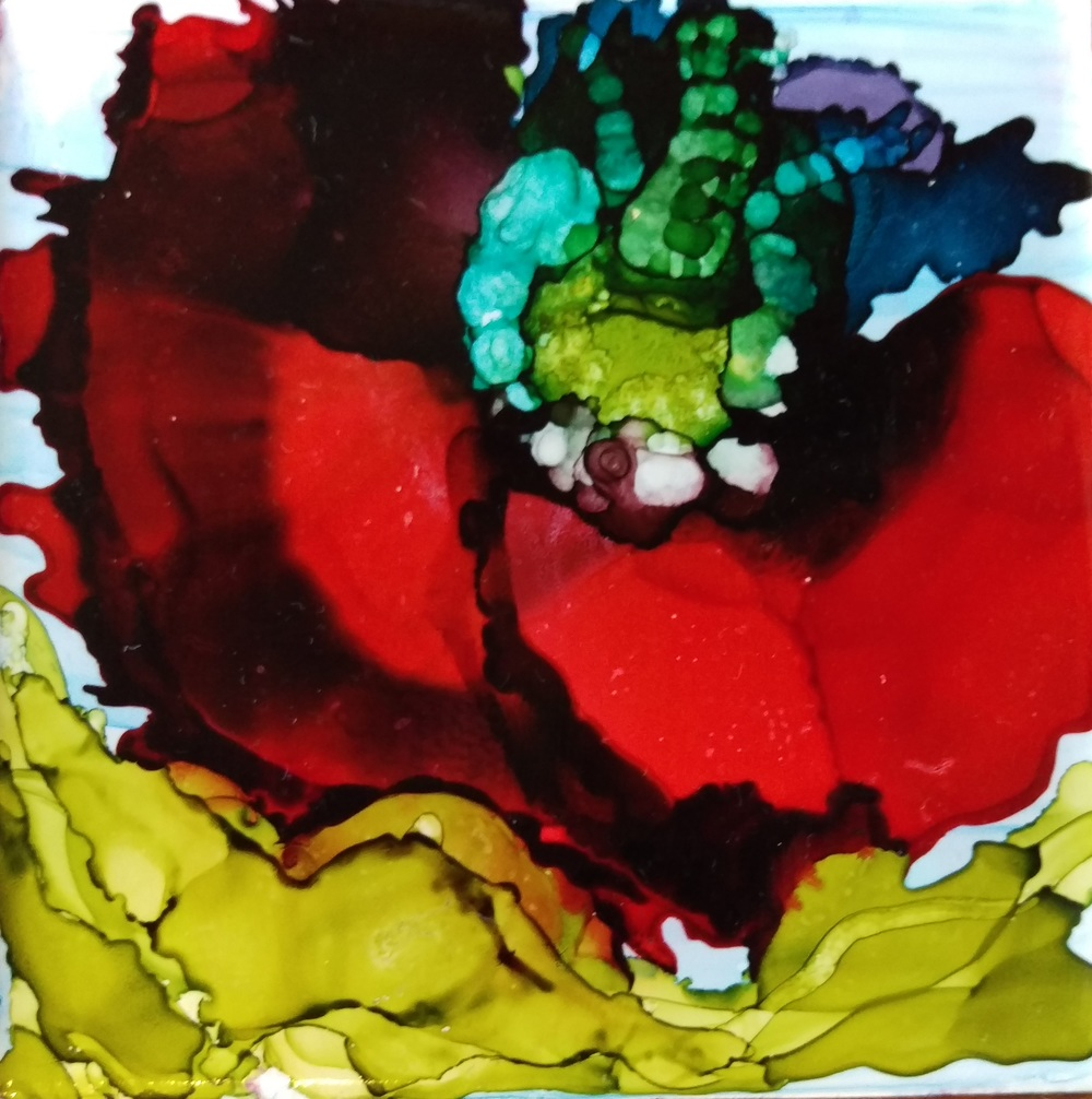 Up Close example of Coaster / Alcohol Ink work of art
