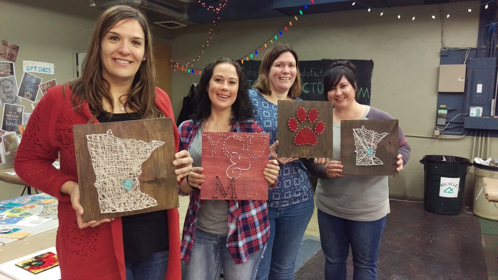 Finished string art projects from our Beta class!