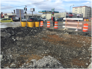 Start of existing roadway demolition @ Minnesota Avenue  & Ames Street