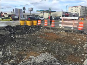 Start of existing roadway demolition @ Minnesota Avenue & Ames Street
