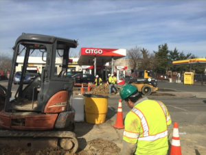 Installation of new water service for Citgo Station.