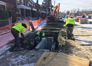 Installation of new stormwater catch basin on Minnesota Avenue between Ames Street & Blaine Street