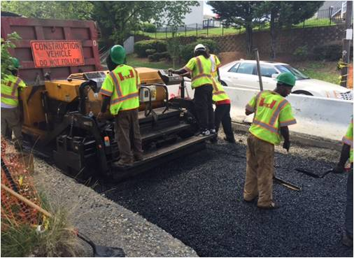 "Installing 4"" drainable base course roadway layer@ Ridge Rd"