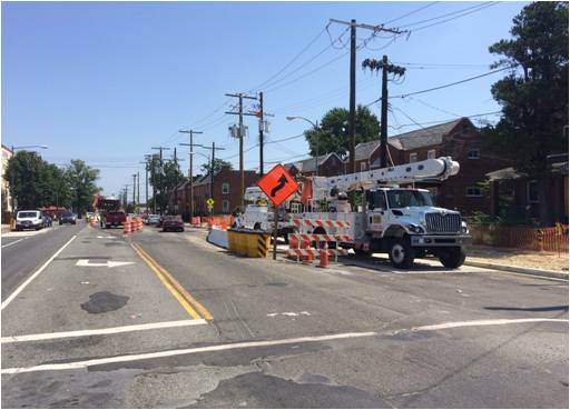 Northbound lane shift to e. curb lane b/t Ames St & Benning Rd for center rdwy demo & reconstruction