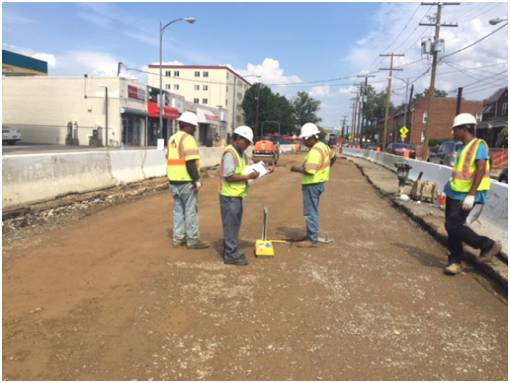 "Density test for 10"" aggregate base course, Minn Ave center lanes, b/t Ames St & Blaine St"