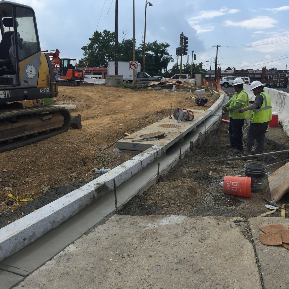New granite curb, pcc gutter and Inlet I-13 on ramp to East Capitol St
