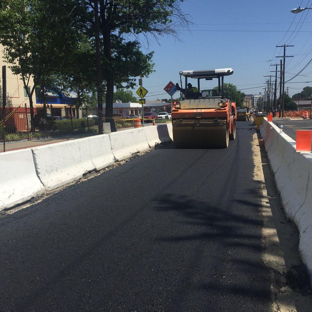 Rolling base asphalt roadway layer b/t Ames St & Blaine St