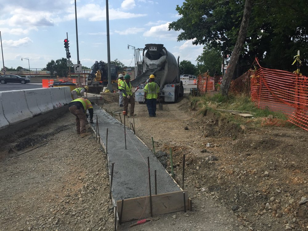 Concrete pour for LID Structure No. 18 curbside footer on Ridge Rd