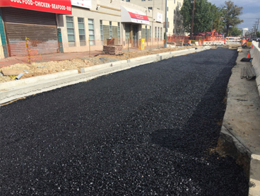 "4"" Drainable base asphalt layer installed, w. side Minn Ave b/t Ames St & Blaine St"