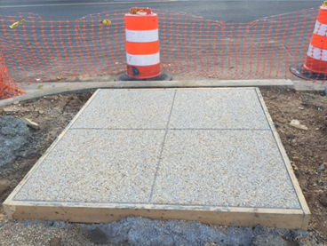 Sample Exposed Aggregate Sidewalk formed at the NW corner of Minn Ave & Blaine St