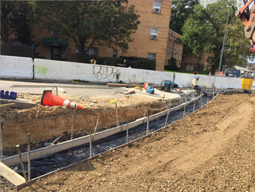 Formwork for Bioretention Cell No. 17 curbside footer base @ East Capitol St S. Service Rd