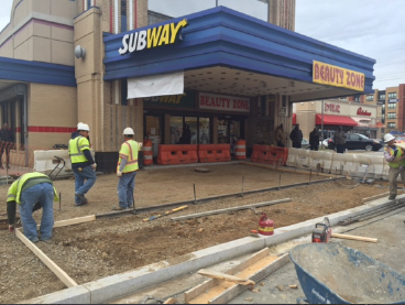 Forming new exposed aggregate sidewalk, w. side Minn. Ave., b/t Dix St. & Benning Rd. ( IFO Subway)