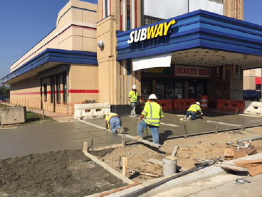 Concrete for new exposed aggregate sidewalk, w. side Minn Ave b/t Dix St & Benning Rd. ( IFO Subway)