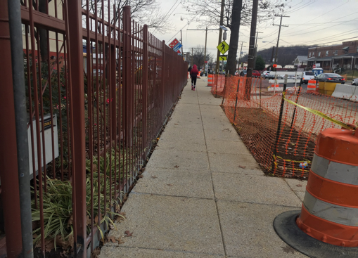 New exposed aggregate sidewalk in front of Allen House