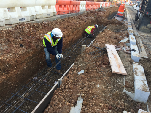 Installation of Bioretention Cell LID Nos. 13 & 14 footing bases, w. side b/t A St. & Ridge Rd.