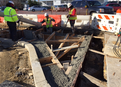 Installation of Bioretention Cell LID No. 54 footing walls, w. side @ Minn. Ave. & Dix St.