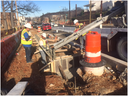 Pouring concrete for Bioretention Cell (LIDs) footings, west side b/t A St. & Ridge Rd.