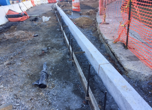 Installation of new granite curb along the south side of Ridge Rd., west of Minn. Ave.