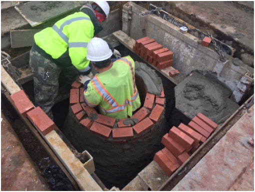 Constructing new brick stormdrain manhole 28 @ Clay Pl., east of Minn. Ave.