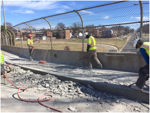 Demolition of existing bridge sidewalk, east side