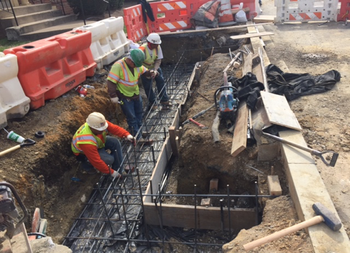 Bio-cell (LID) 37 rear footer base formwork and reinforcing steel, east side b/t Ames St. & Blaine St.
