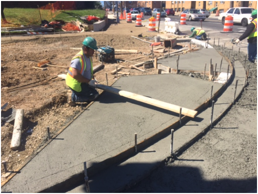 Modification of SE corner of Minn. Ave. & Ridge Rd. from 15' to 30' radius w/ new ramps shown
