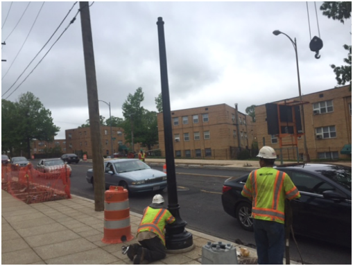 Installation of new streetlight poles b/t A St. & Ridge Rd.