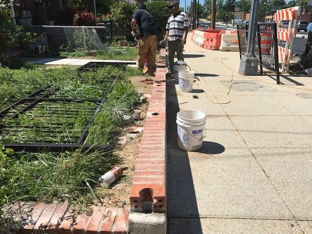 New brick wall & fence installation at row-homes, east side b/t Ames St. & Blaine St.