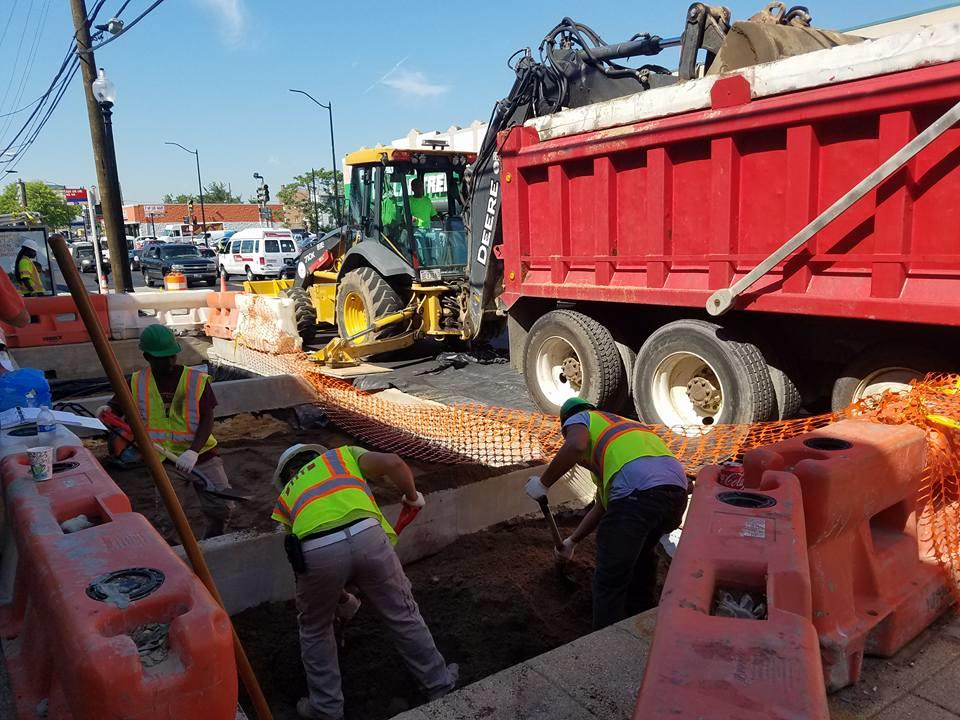 Installation of bioretention soil @ LID 59, east side b/t Dix St. & Benning Rd.
