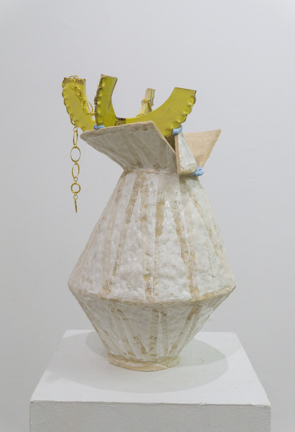 Untitled Ceramic, glaze, polymer clay, gold jewelry 22h x 14l x 12w in 2016
