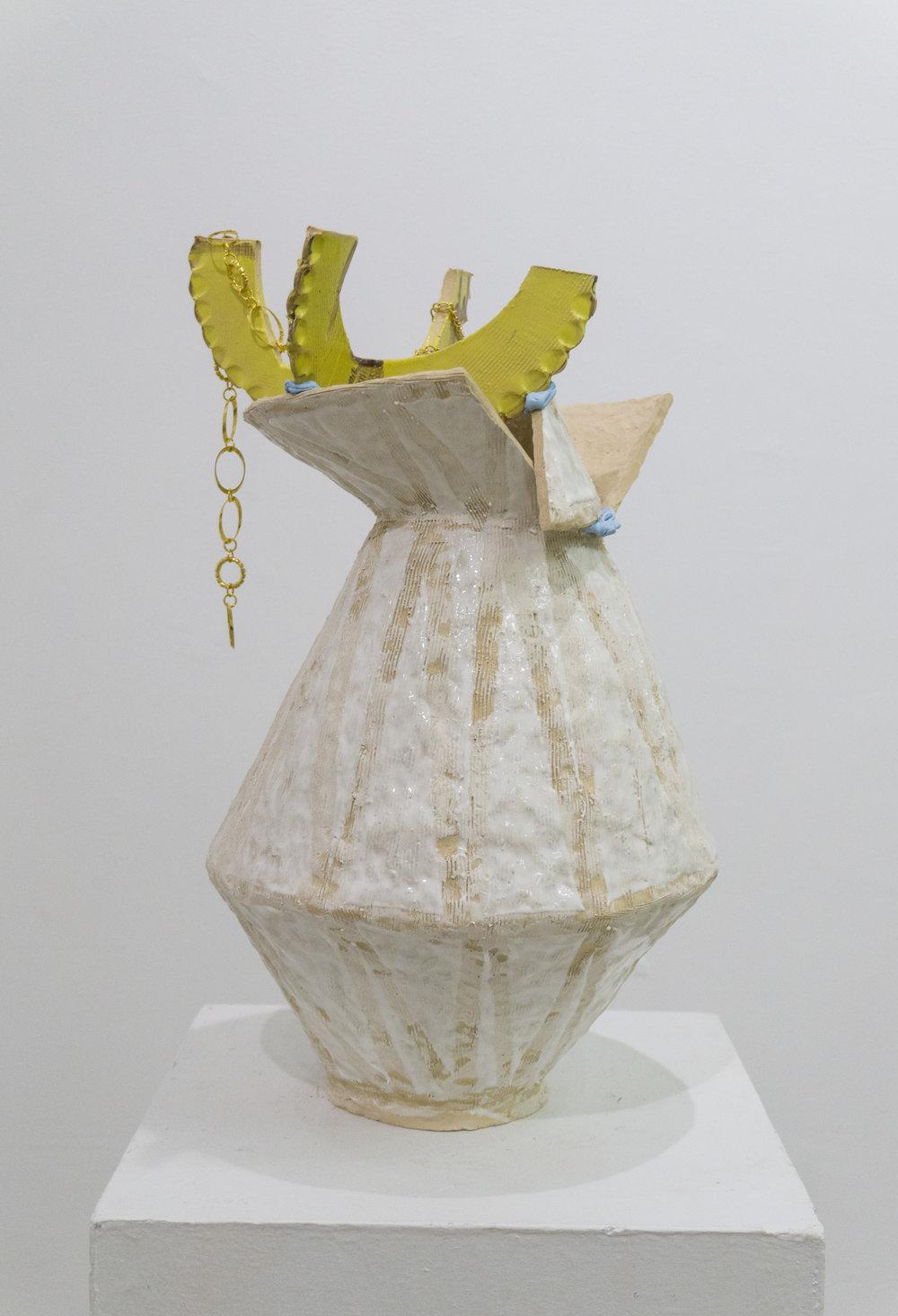 Untitled Fired earthenware, low fire glaze, Sculpey, gold jewelry 22h x 14l x 12w in 2016