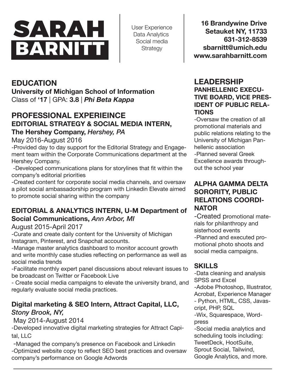 Resume — Sarah Barnitt