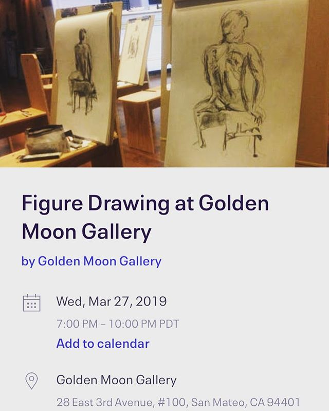 There's still time to sign up for our figure drawing night on Wednesday, March 27th! It's the perfect way to bring in the new season and get your creative juices flowing! . . Sign up using the link in our profile or give us a call (or DM) for more info! . . . . www.goldenmoongallery.com #figuredrawing #events #artnight #diy #charcoaldrawing #goldenmoongallery #community #supporthandmade #shopsmall #supportsmallbusiness #oilpainting #sketchdrawing #livemodel #bayareaevents #sanmateo