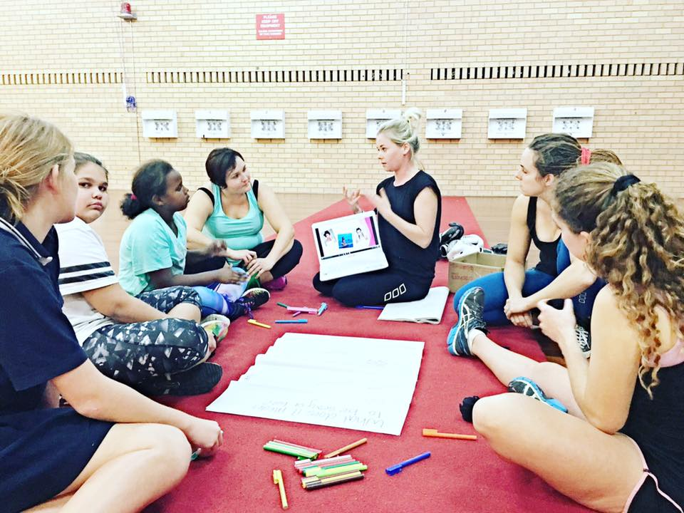 Delivering a session on 'What it means to be Sexy' after a boxing session with The Young Women's Boxing Project'